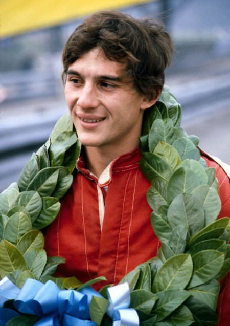 Ayrton Senna with garland (fromespnF1.com)